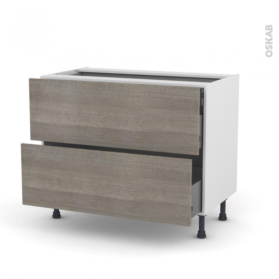 meuble de cuisine casserolier stilo noyer naturel 2 tiroirs 1 tiroir l 39 anglaise l100 x h70 x. Black Bedroom Furniture Sets. Home Design Ideas