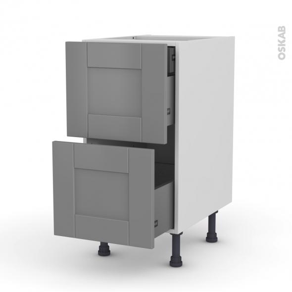 meuble de cuisine casserolier filipen gris 2 tiroirs 1 tiroir l 39 anglaise l40 x h70 x p58 cm. Black Bedroom Furniture Sets. Home Design Ideas