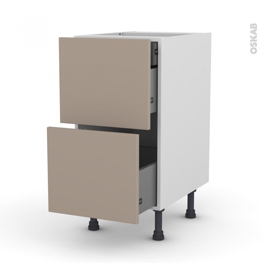meuble de cuisine casserolier ginko taupe 2 tiroirs 1 tiroir l 39 anglaise l40 x h70 x p58 cm oskab. Black Bedroom Furniture Sets. Home Design Ideas