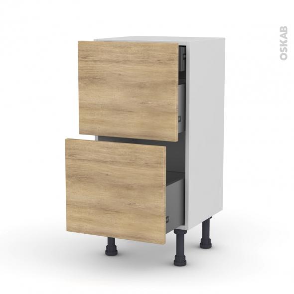 meuble de cuisine casserolier hosta ch ne naturel 2 tiroirs 1 tiroir l 39 anglaise l40 x h70 x. Black Bedroom Furniture Sets. Home Design Ideas