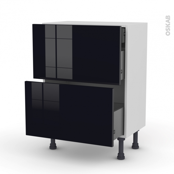 meuble de cuisine casserolier keria noir 2 tiroirs 1 tiroir l 39 anglaise l60 x h70 x p37 cm oskab. Black Bedroom Furniture Sets. Home Design Ideas