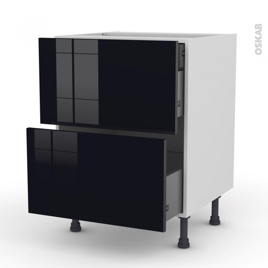 meuble de cuisine casserolier keria noir 2 tiroirs 1 tiroir l 39 anglaise l60 x h70 x p58 cm oskab. Black Bedroom Furniture Sets. Home Design Ideas