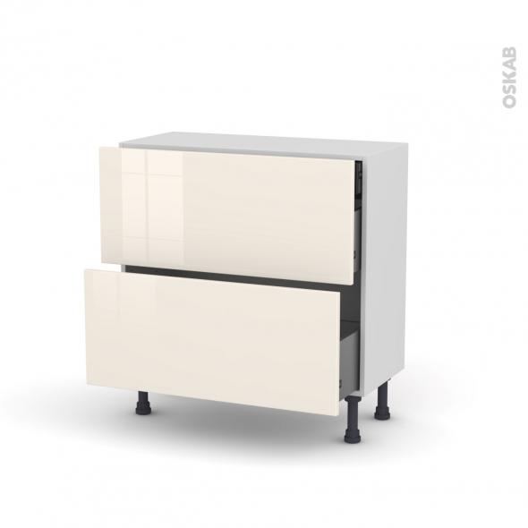 meuble de cuisine casserolier keria ivoire 2 tiroirs 1 tiroir l 39 anglaise l80 x h70 x p37 cm. Black Bedroom Furniture Sets. Home Design Ideas
