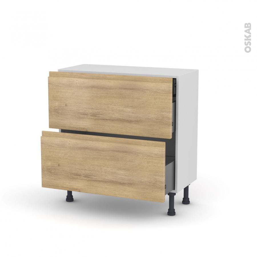 meuble de cuisine casserolier ipoma ch ne naturel 2 tiroirs 1 tiroir l 39 anglaise l80 x h70 x. Black Bedroom Furniture Sets. Home Design Ideas