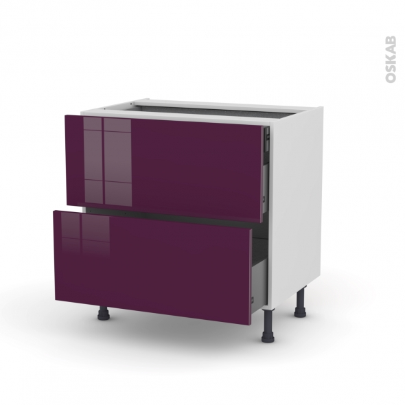 meuble de cuisine casserolier keria aubergine 2 tiroirs 1 tiroir l 39 anglaise l80 x h70 x p58 cm. Black Bedroom Furniture Sets. Home Design Ideas