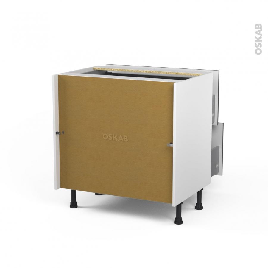 meuble de cuisine casserolier ginko taupe 2 tiroirs 1 tiroir l 39 anglaise l80 x h70 x p58 cm oskab. Black Bedroom Furniture Sets. Home Design Ideas