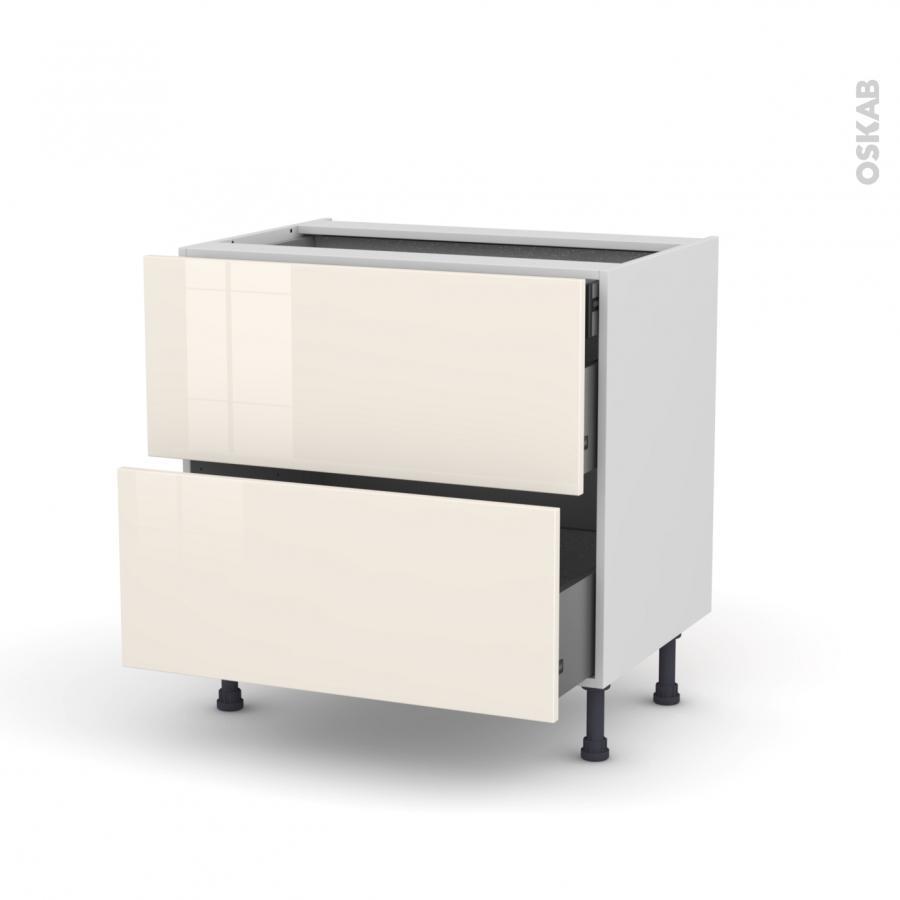 meuble de cuisine casserolier keria ivoire 2 tiroirs 1