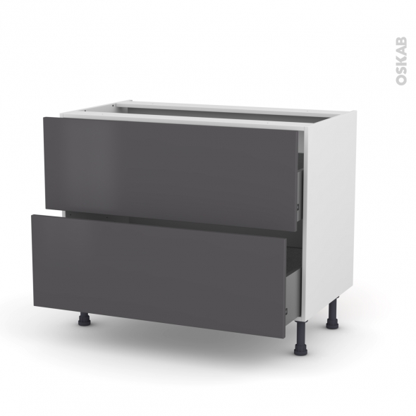 meuble de cuisine casserolier ginko gris 2 tiroirs l100 x h70 x p58 cm oskab. Black Bedroom Furniture Sets. Home Design Ideas