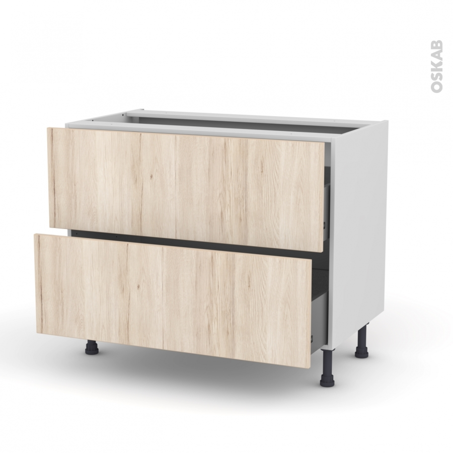 Meuble de cuisine casserolier ikoro ch ne clair 2 tiroirs - Meuble cuisine casserolier ...