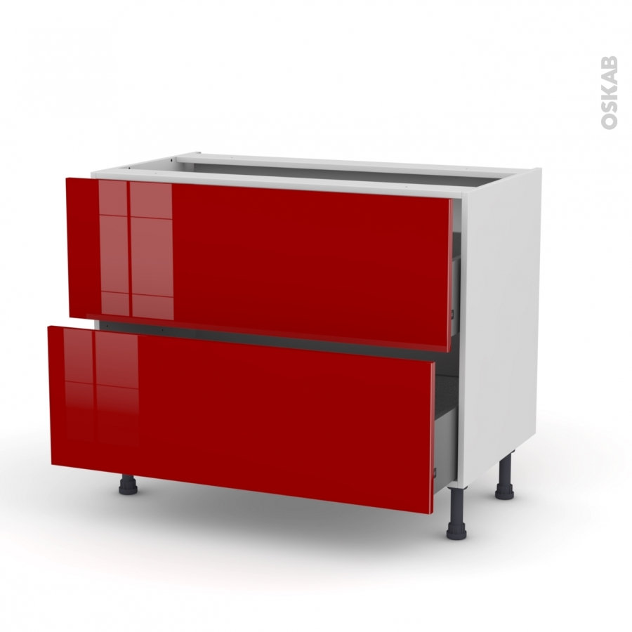 meuble de cuisine casserolier stecia rouge 2 tiroirs l100. Black Bedroom Furniture Sets. Home Design Ideas