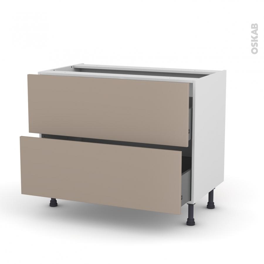 Meuble de cuisine casserolier ginko taupe 2 tiroirs l100 x for Tiroir meuble cuisine