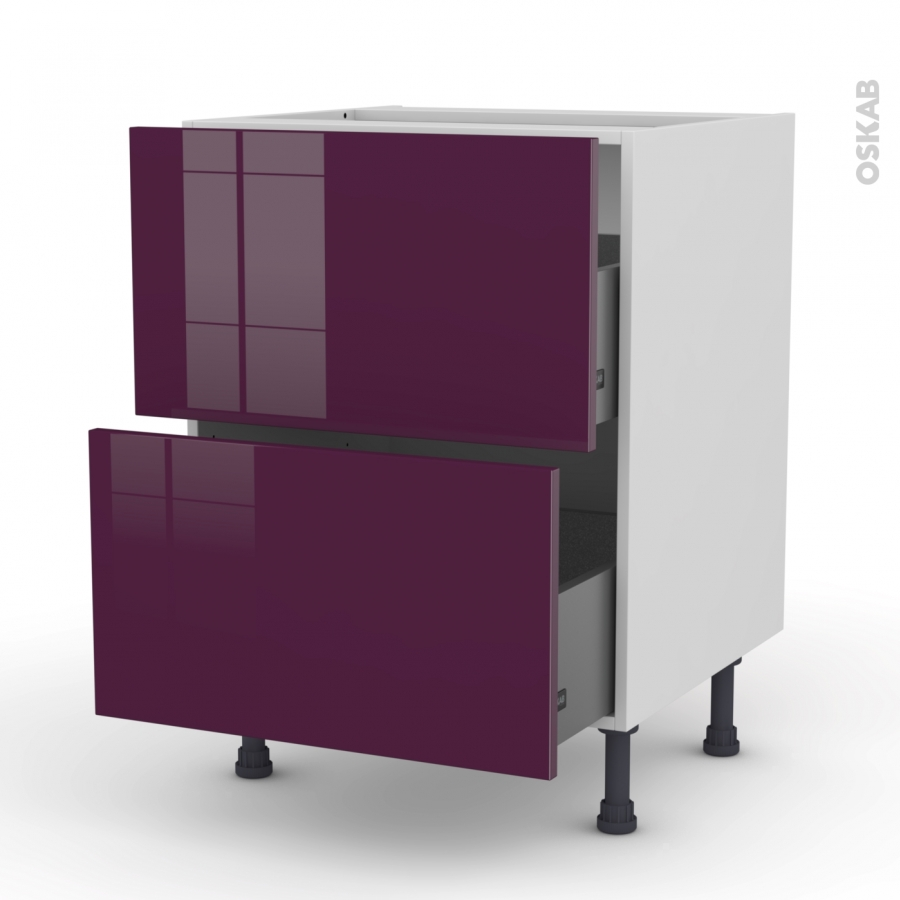 Keria aubergine meuble casserolier 2 tiroirs l60xh70xp58 for Cuisine oskab