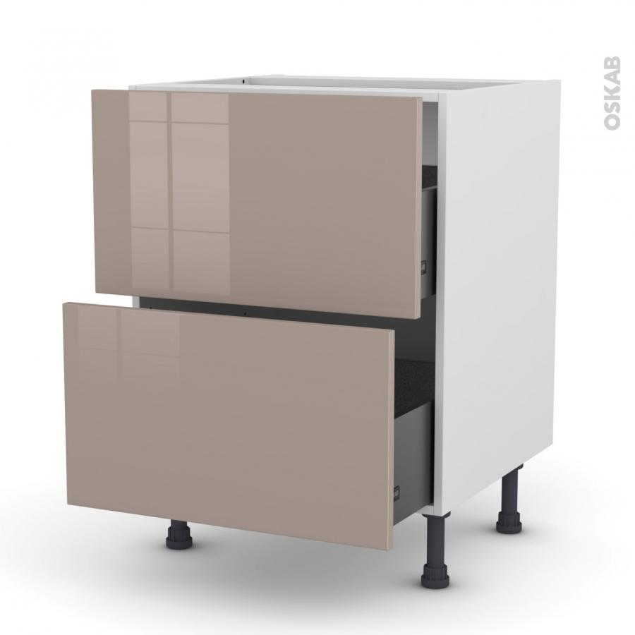 Meuble de cuisine casserolier keria moka 2 tiroirs l60 x for Cuisine 3d dole