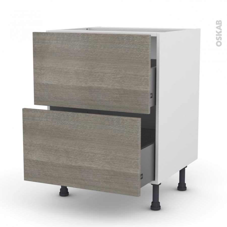 meuble de cuisine casserolier stilo noyer naturel 2 tiroirs l60 x h70 x p58 cm oskab. Black Bedroom Furniture Sets. Home Design Ideas