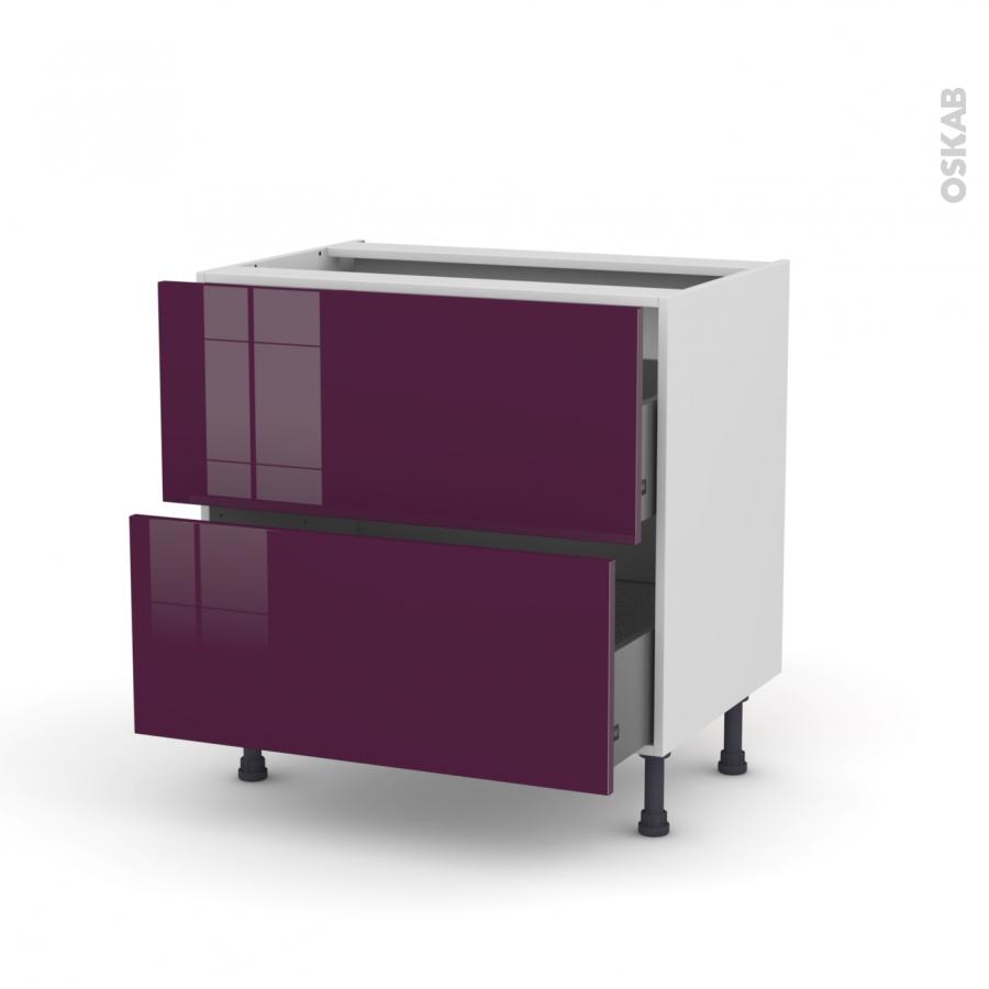 meuble de cuisine casserolier keria aubergine 2 tiroirs. Black Bedroom Furniture Sets. Home Design Ideas