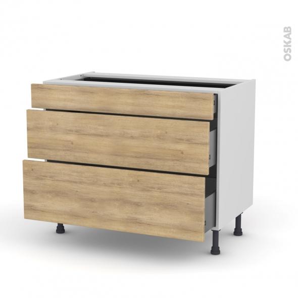 meuble de cuisine casserolier hosta ch ne naturel 3 tiroirs l100 x h70 x p58 cm oskab. Black Bedroom Furniture Sets. Home Design Ideas