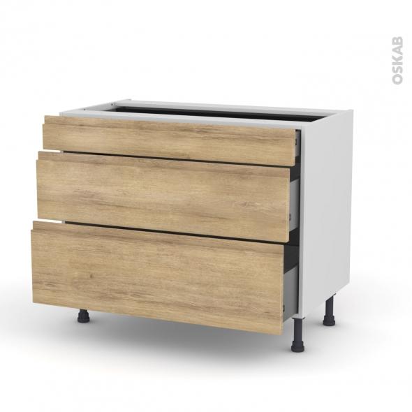 meuble casserolier 3 tiroirs l100xh70xp58 ipoma ch ne naturel oskab. Black Bedroom Furniture Sets. Home Design Ideas