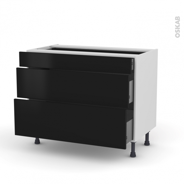 meuble de cuisine casserolier ginko noir 3 tiroirs l100 x h70 x p58 cm oskab. Black Bedroom Furniture Sets. Home Design Ideas