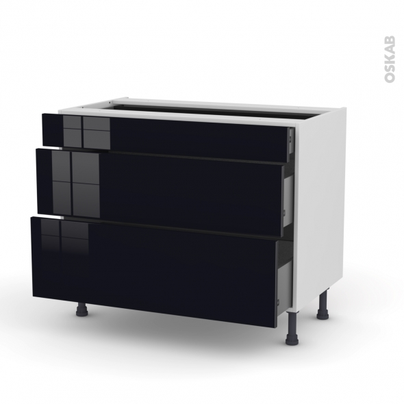 meuble casserolier 3 tiroirs l100xh70xp58 keria noir oskab. Black Bedroom Furniture Sets. Home Design Ideas
