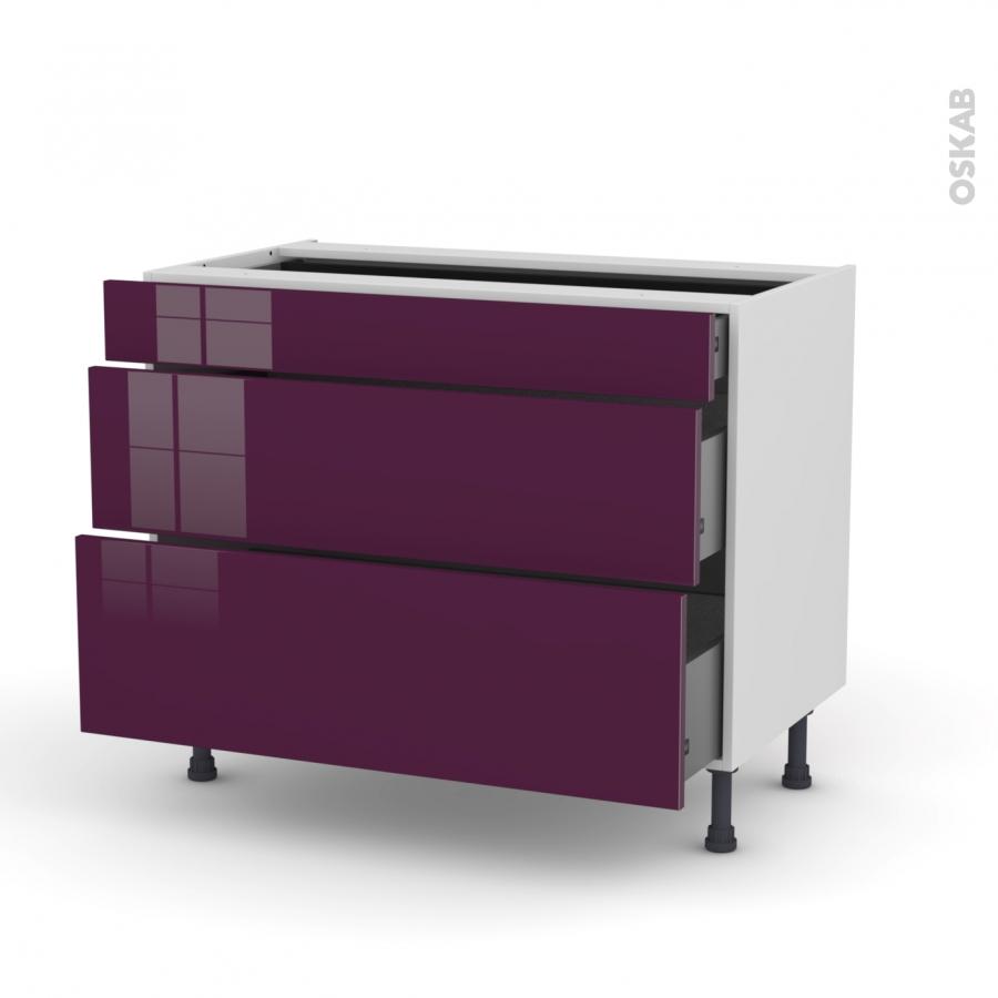 meuble de cuisine casserolier keria aubergine 3 tiroirs l100 x h70 x p58 cm oskab. Black Bedroom Furniture Sets. Home Design Ideas