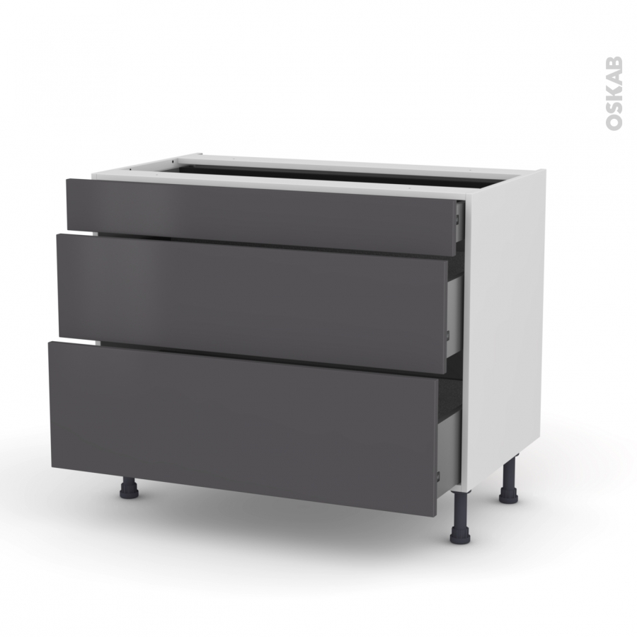 meuble de cuisine casserolier ginko gris 3 tiroirs l100 x h70 x p58 cm oskab. Black Bedroom Furniture Sets. Home Design Ideas