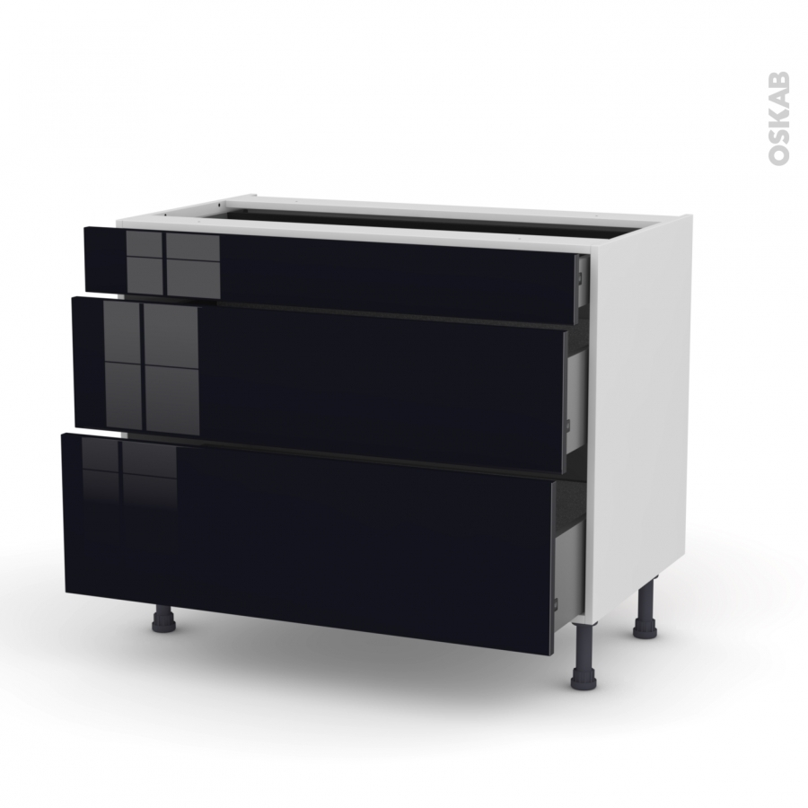 meuble de cuisine casserolier keria noir 3 tiroirs l100 x h70 x p58 cm oskab. Black Bedroom Furniture Sets. Home Design Ideas