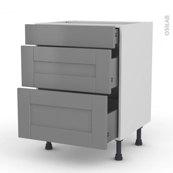 Meuble casserolier 3 tiroirs l60xh70xp58 filipen gris oskab for Modele meuble de cuisine