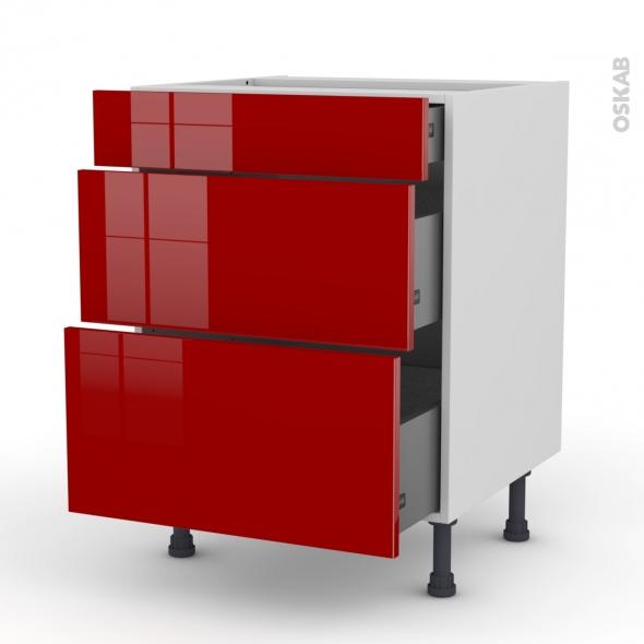 Meuble de cuisine casserolier stecia rouge 3 tiroirs l60 x for Oskab cuisine 3d