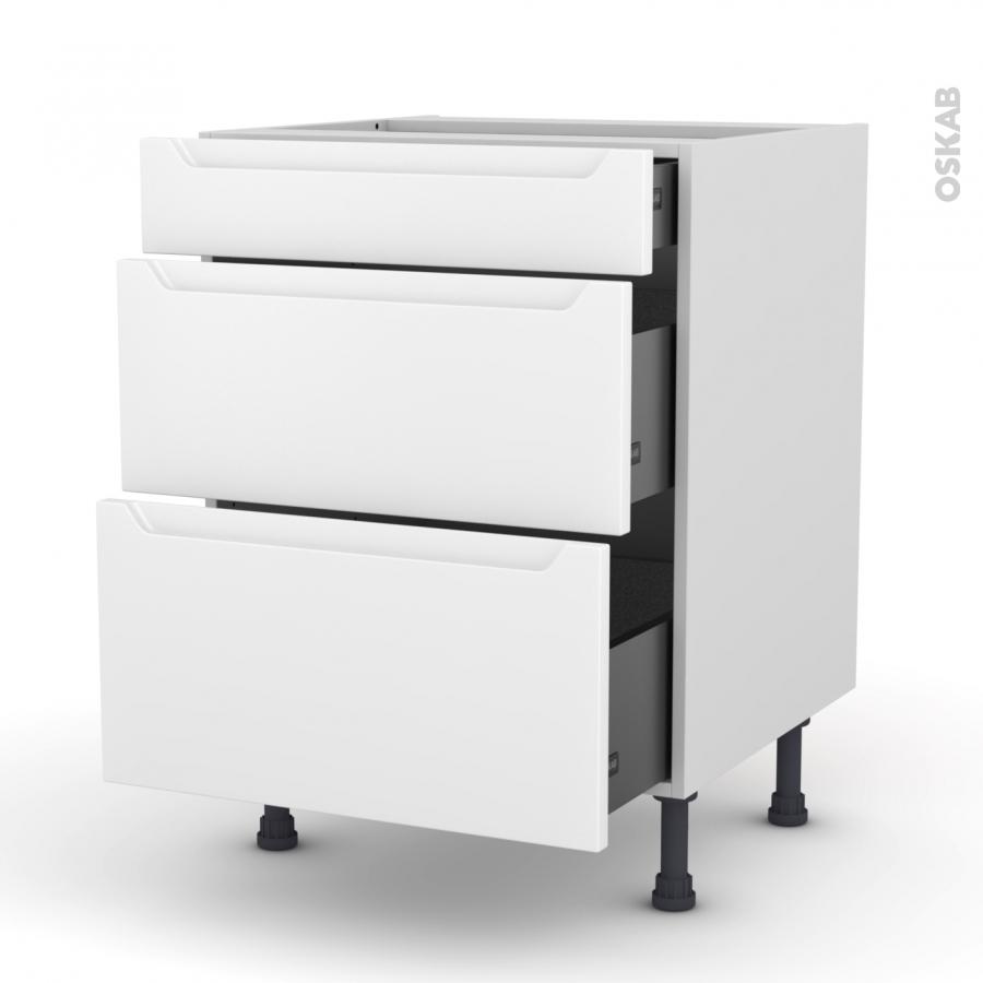 Meuble de cuisine casserolier pima blanc 3 tiroirs l60 x for Modele meuble de cuisine