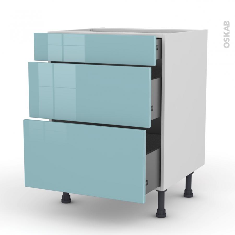 meuble de cuisine casserolier keria bleu 3 tiroirs l60 x h70 x p58 cm oskab. Black Bedroom Furniture Sets. Home Design Ideas