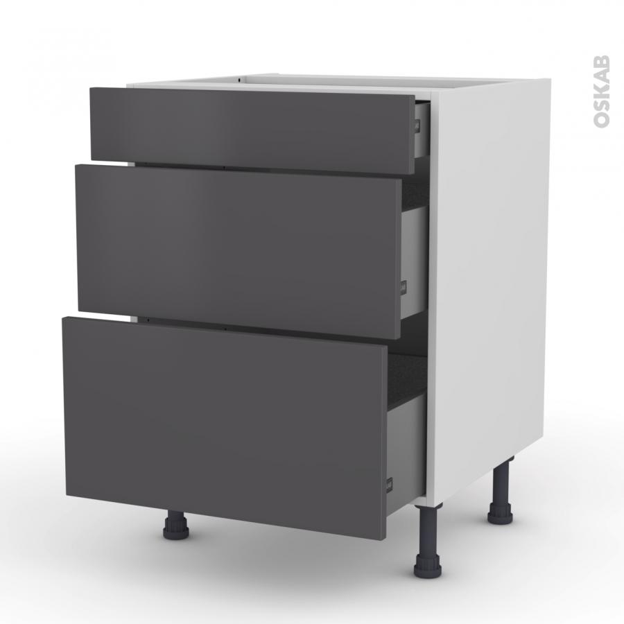 meuble de cuisine casserolier ginko gris 3 tiroirs l60 x. Black Bedroom Furniture Sets. Home Design Ideas