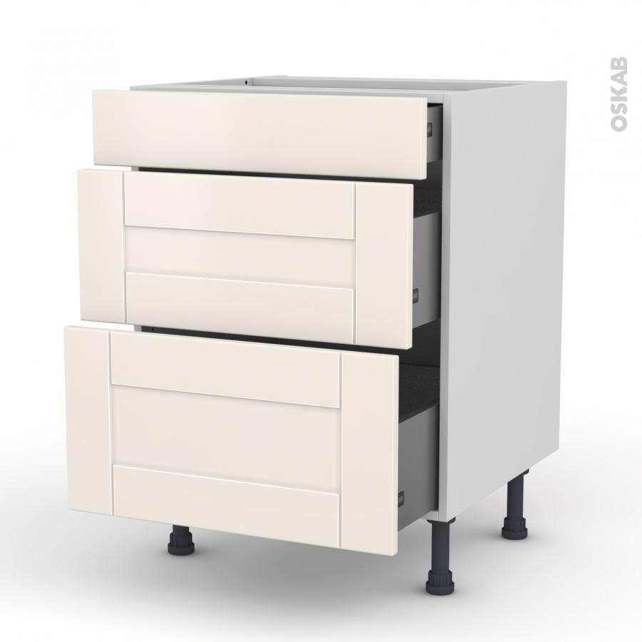 meuble de cuisine casserolier filipen ivoire 3 tiroirs l60 x h70 x p58 cm oskab. Black Bedroom Furniture Sets. Home Design Ideas