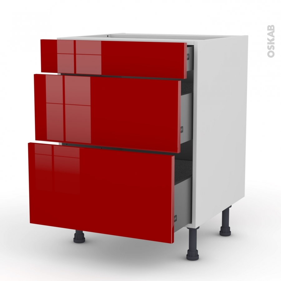 meuble de cuisine casserolier stecia rouge 3 tiroirs l60 x. Black Bedroom Furniture Sets. Home Design Ideas