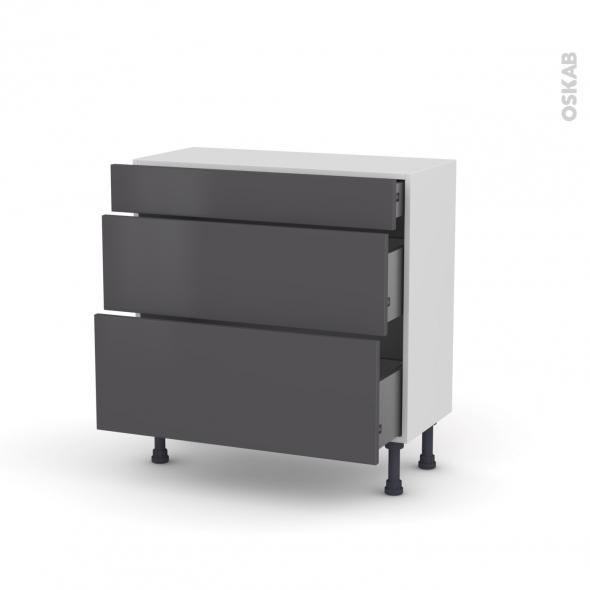 meuble casserolier 3 tiroirs l80xh70xp37 ginko gris oskab. Black Bedroom Furniture Sets. Home Design Ideas