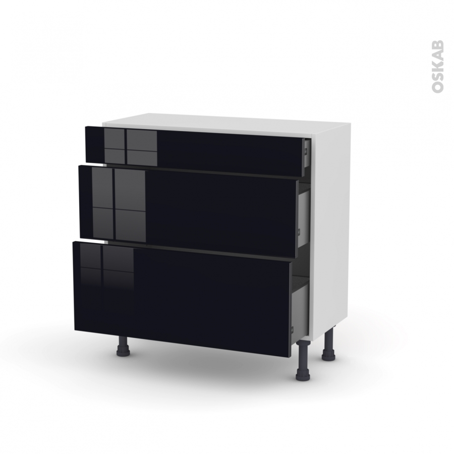 meuble de cuisine casserolier keria noir 3 tiroirs l80 x. Black Bedroom Furniture Sets. Home Design Ideas