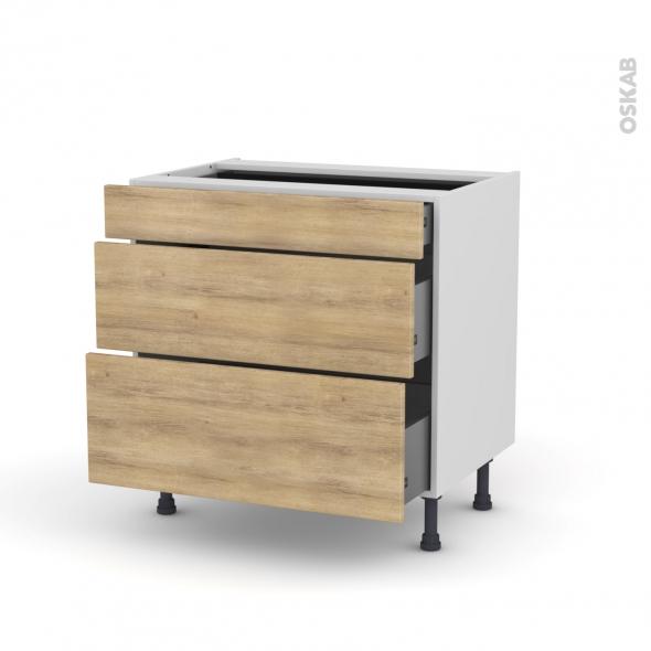 meuble casserolier 3 tiroirs l80xh70xp58 hosta ch ne naturel oskab. Black Bedroom Furniture Sets. Home Design Ideas
