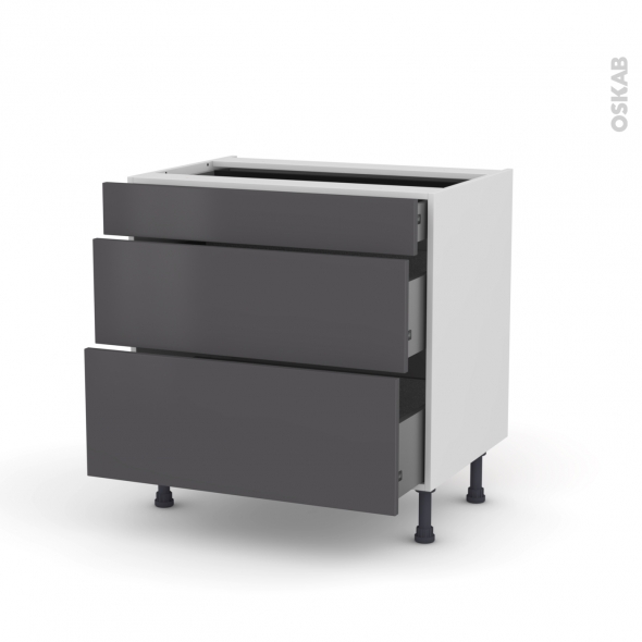 meuble de cuisine casserolier ginko gris 3 tiroirs l80 x h70 x p58 cm oskab. Black Bedroom Furniture Sets. Home Design Ideas