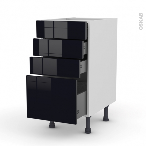 meuble de cuisine casserolier keria noir 4 tiroirs l40 x. Black Bedroom Furniture Sets. Home Design Ideas