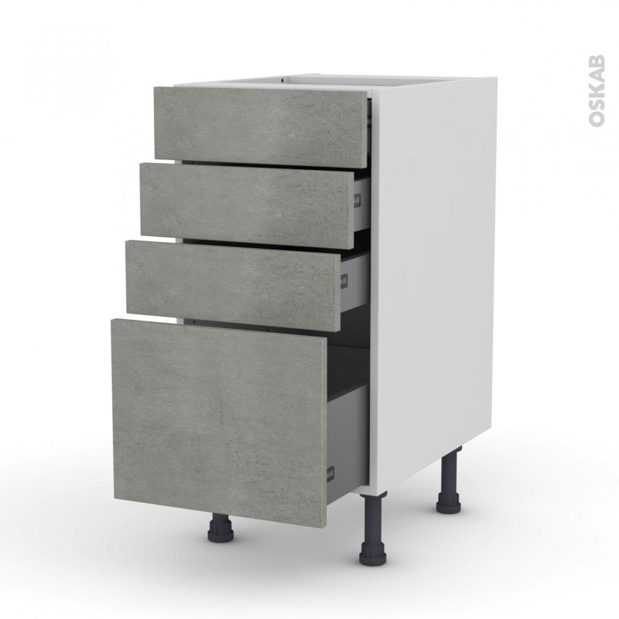 Meuble de cuisine casserolier fakto b ton 4 tiroirs l40 x - Meuble cuisine casserolier ...