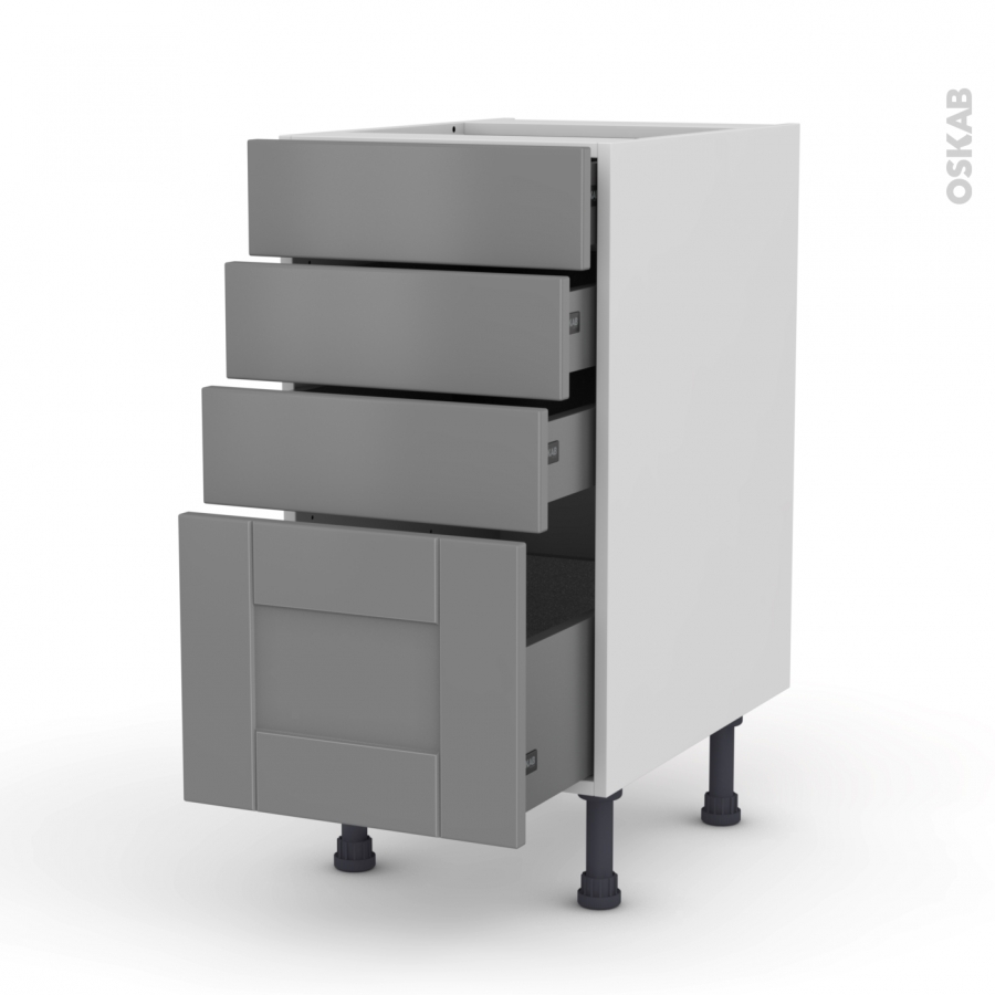meuble de cuisine casserolier filipen gris 4 tiroirs l40 x. Black Bedroom Furniture Sets. Home Design Ideas