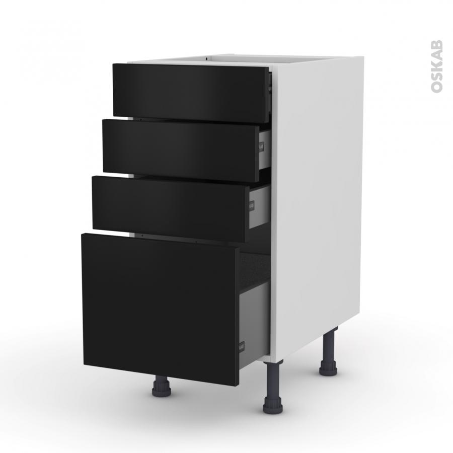 meuble de cuisine casserolier ginko noir 4 tiroirs l40 x h70 x p58 cm oskab. Black Bedroom Furniture Sets. Home Design Ideas