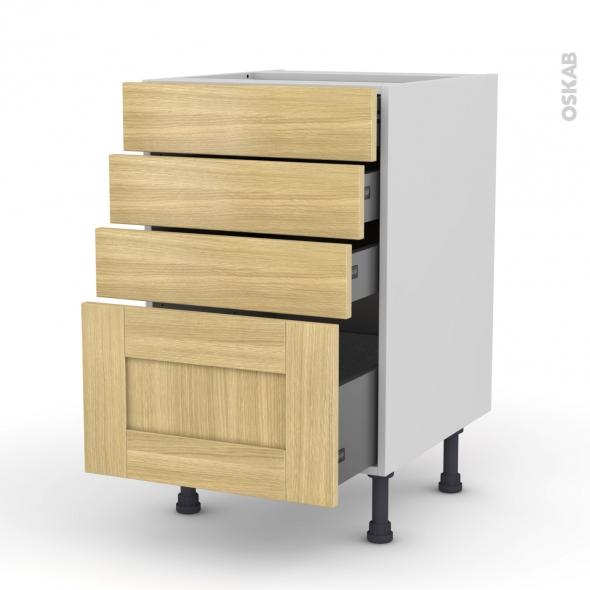 Basilit bois brut meuble casserolier 4 tiroirs l50xh70xp58 for Meuble cuisine en bois brut