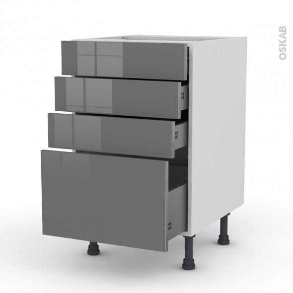 meuble casserolier 4 tiroirs l50xh70xp58 stecia gris oskab. Black Bedroom Furniture Sets. Home Design Ideas