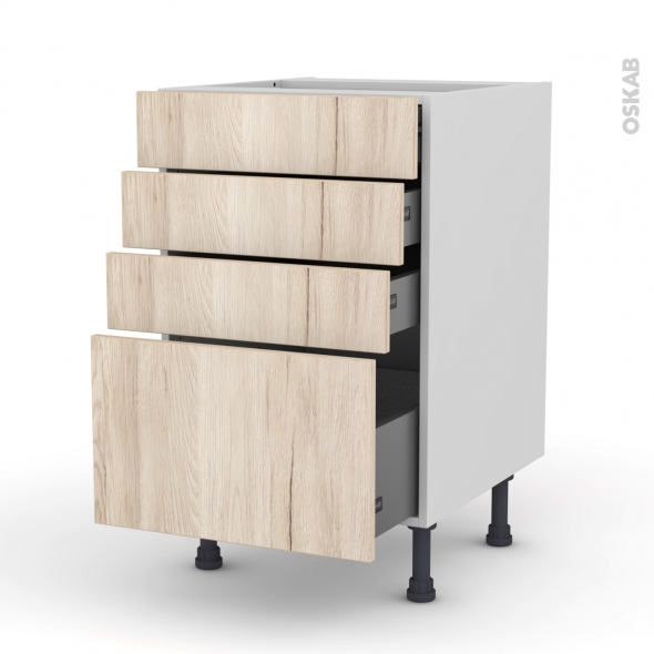 Meuble de cuisine casserolier ikoro ch ne clair 4 tiroirs for Meuble cuisine 50 x 70