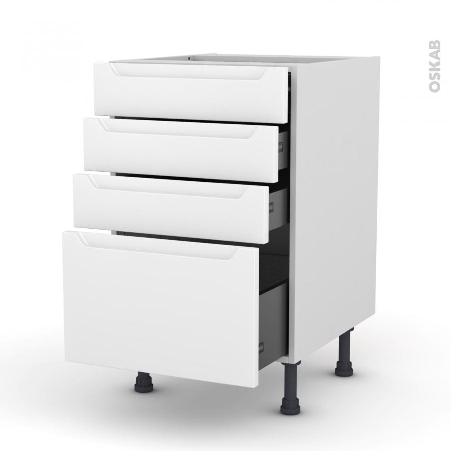 Meuble de cuisine casserolier pima blanc 4 tiroirs l50 x - Meuble plein de tiroir ...