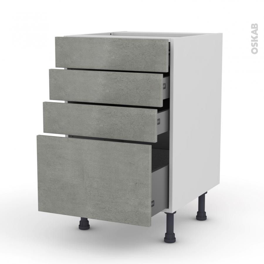 meuble de cuisine casserolier fakto b ton 4 tiroirs l50 x h70 x p58 cm oskab. Black Bedroom Furniture Sets. Home Design Ideas