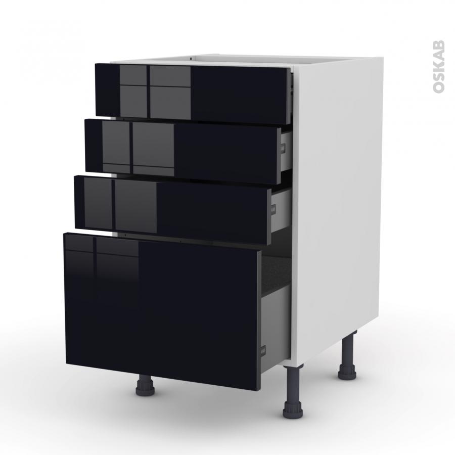 Meuble de cuisine casserolier keria noir 4 tiroirs l50 x for Tiroir meuble cuisine