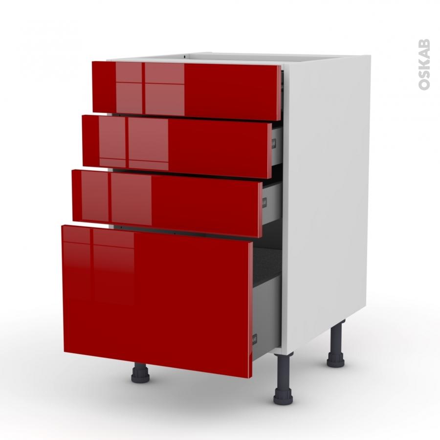 Meuble de cuisine casserolier stecia rouge 4 tiroirs l50 x for Meuble de cuisine rouge