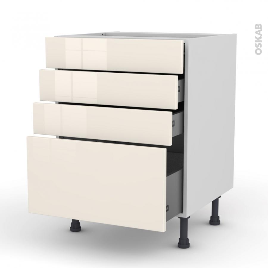 meuble de cuisine casserolier keria ivoire 4 tiroirs l60 x h70 x p58 cm oskab. Black Bedroom Furniture Sets. Home Design Ideas