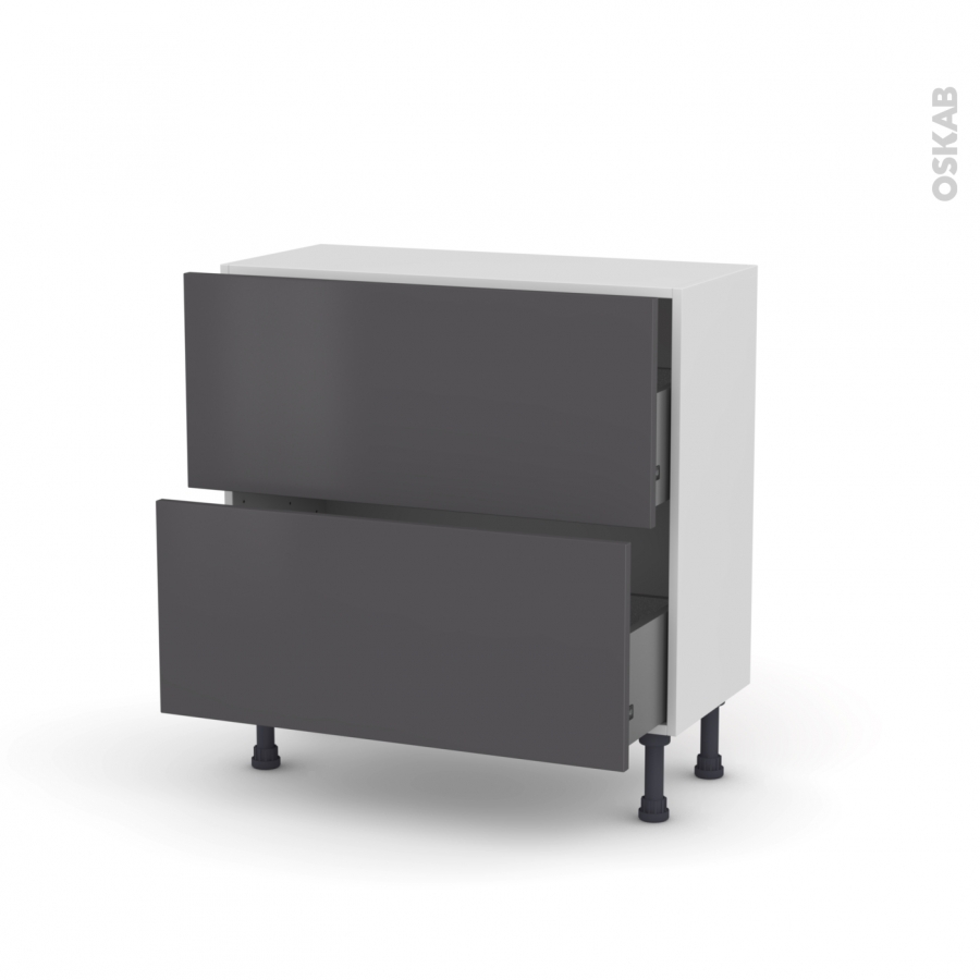 meuble de cuisine casserolier ginko gris 2 tiroirs l80 x h70 x p37 cm oskab. Black Bedroom Furniture Sets. Home Design Ideas